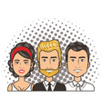 three men and woman portrait pop art comic style vector image
