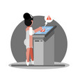 woman have troudle by using atm vector image vector image