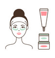woman in headband with tender cream under eyes vector image vector image