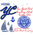 yachting club grunge artwork for sportswear in vector image vector image
