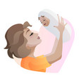 young mother with baby in hands throwing up baby vector image vector image