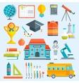 School Decorative Flat Icons Set vector image