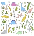dinosaurs and prehistoric plants set vector image