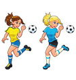 Soccer female players vector image