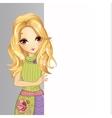 Blonde Girl Hold Banner vector image