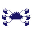 brain in head cloud connection vector image vector image