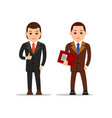 business man businessman stand and holds hand in vector image vector image