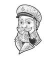 captain smoking pipe sketch vector image