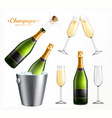champagne glass realistic set vector image