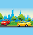 cheerful cars on road vector image vector image