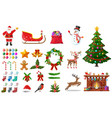 christmas new year set vector image vector image