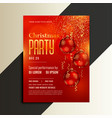 christmas party poster flyer in shiny red theme vector image