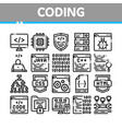 coding system thin line icons set vector image