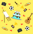 colorful hobbies equipment pattern vector image