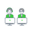 consultants man and woman consulting people icons vector image vector image