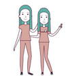 couple of female friends avatars vector image vector image