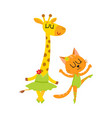 cute little giraffe and cat kitten characters vector image vector image