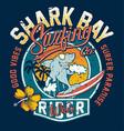 cute shark bay surfing company vector image vector image