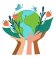 ecological awareness and care for planet earth vector image vector image