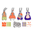 elegant cute easter bunnies on a white background vector image vector image