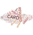 essentials of credit card rewards text background vector image vector image