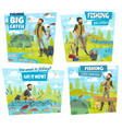fishing adventure fisher catch lake or river fish vector image vector image