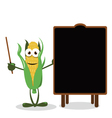 Funny Corn and a Blackboard vector image vector image