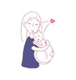 girl hug cat with love sleeping together vector image