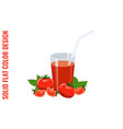glass of tomato juice tomatoes and basil vector image