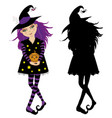halloween of young witch with pumpkin and black vector image vector image