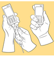 Hand and mobile phone set vector image vector image