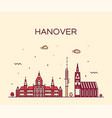 hanover skyline lower saxony germany linear vector image