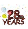 happy birthday twenty eight year vector image vector image