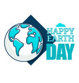 happy earth day isolated icon planet ecology and vector image vector image
