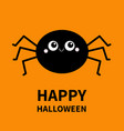 happy halloween black round spider silhouette vector image vector image