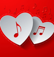 Hearts Cut from White Paper on Red Music vector image vector image