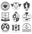 Heraldry Of University Black White Emblems vector image vector image