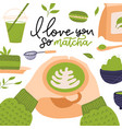 i love you so matcha - hand drawn lettering quote vector image vector image