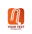 initial letter n logo template colored orange vector image vector image