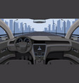 inside car driver view with rudder dashboard vector image