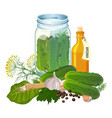 jar with cucumbers and ingredients for pickles vector image vector image