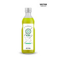 kiwi juice realistic glass bottle with label vector image vector image