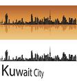 Kuwait City skyline in orange background vector image vector image