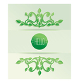 Label hello with green leaves vector image