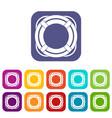 lifebuoy icons set flat vector image vector image
