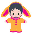 little cute badressed in a hare costume vector image vector image