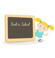 Little girl and school blackboard vector image