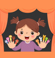 little girl playing animal finger puppets vector image vector image