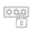 login security line icon vector image vector image