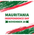 mauritania independence day banner with brush vector image vector image